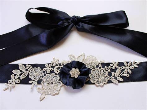 Custom Color (Navy Blue) Lace Flower Bridal Sash Belt w