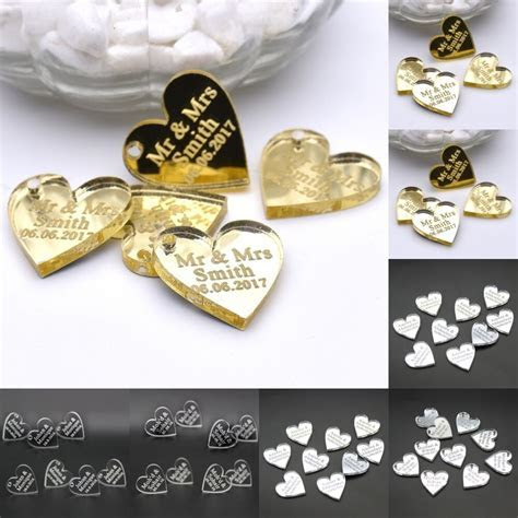10Pcs Personalized Engraved Centerpieces Love Heart Table