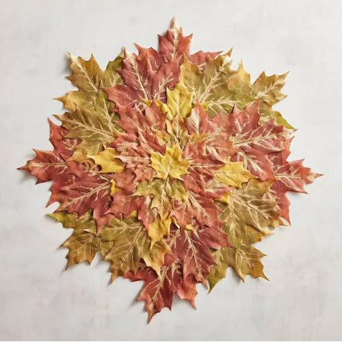 Pier 1 Imports Faux Maple Leaves Placemat Orange