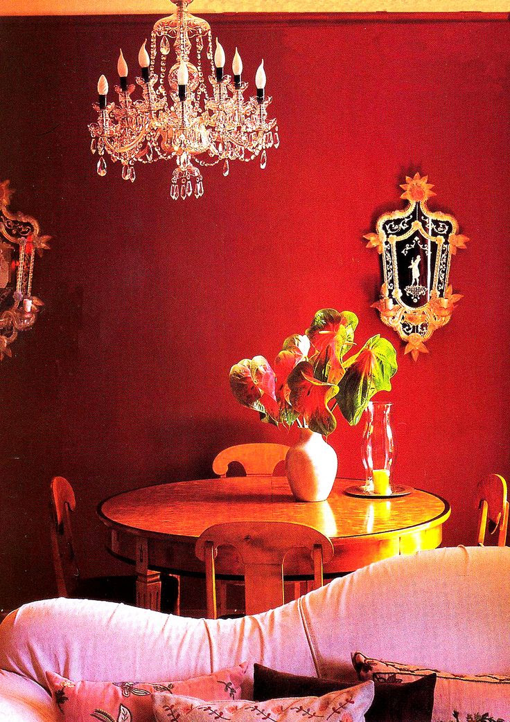 Bohemian Style dining room in a Paris apartment with Garnet Red walls.