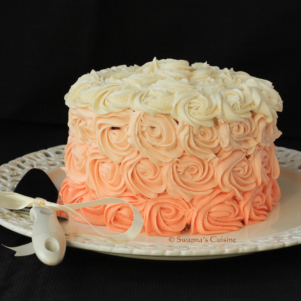 Peach Ombre Rose Cake Picture