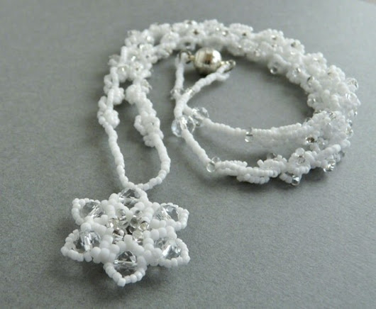 Sparkly white snowflake beaded necklace White by FancyFoxDesign