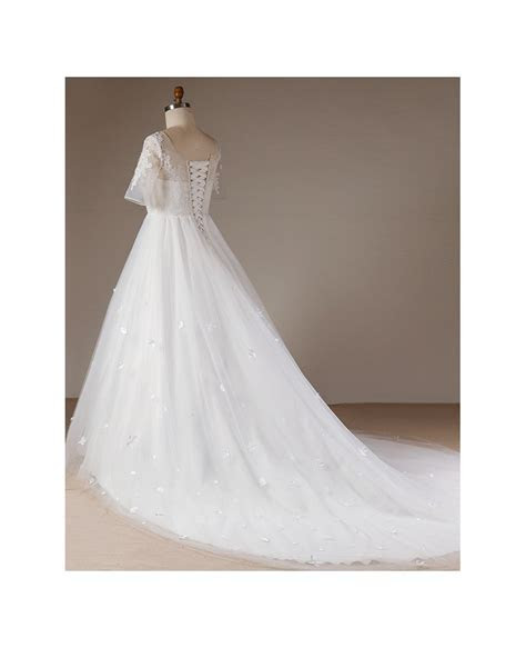Plus Size Flowers Lace Long Tulle Beach Wedding Dress With