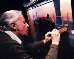 Ralph McQuarrie works on a matte painting for THE EMPIRE STRIKES BACK.