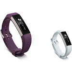 Zodaca Soft TPU Rubber Adjustable Wristbands with Secure Metal Buckle Watch Band Strap for Fitbit Alta HR / Alta - Purple + White