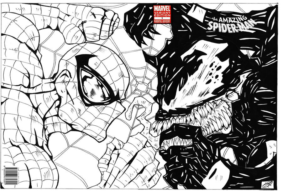 Spiderman Vs Venom Comic Wrap Around Cover By Dibujos Para Colorear