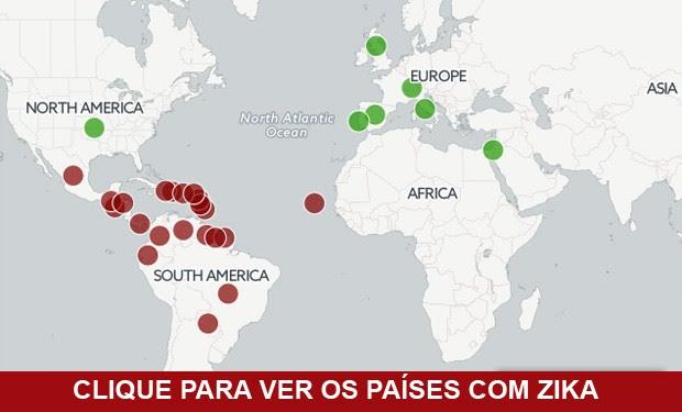 Mapa mostra casos de zika no mundo (Foto: G1)