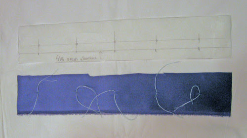 Blue silk blouse buttonhole placket
