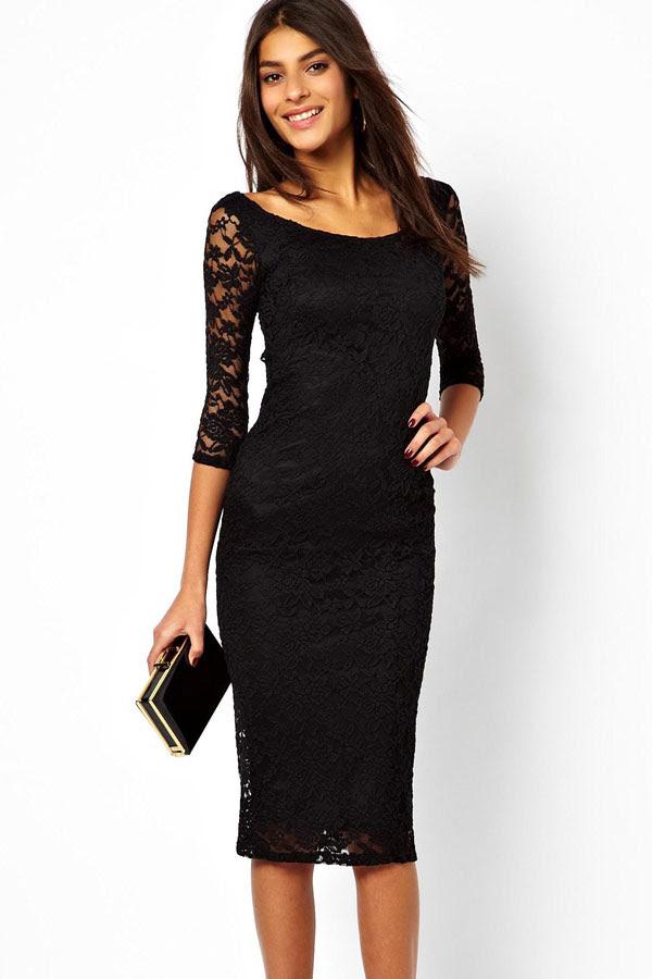 Evening dress black lace overlay