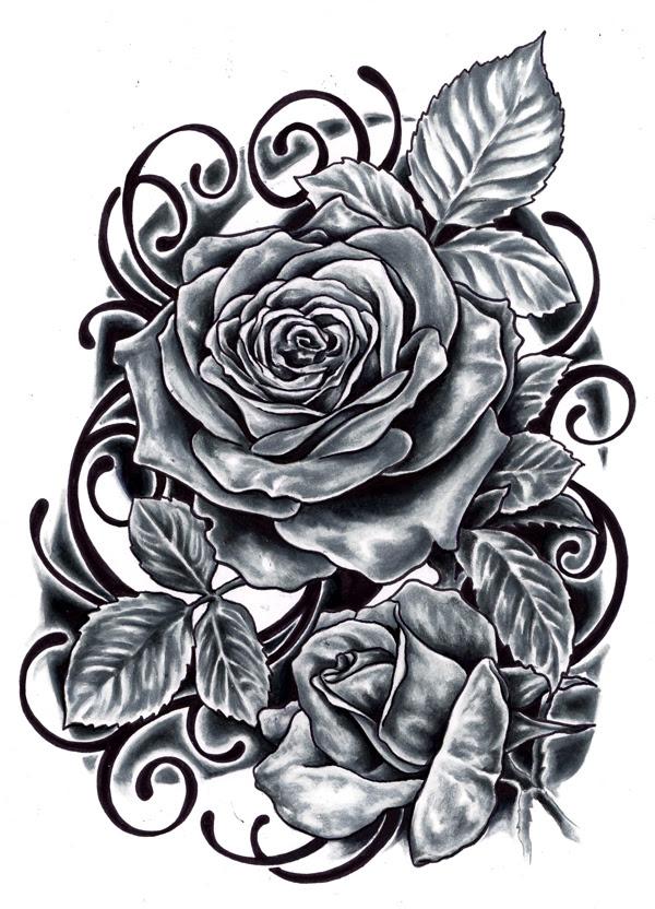 Simple Black Rose Tattoo Design