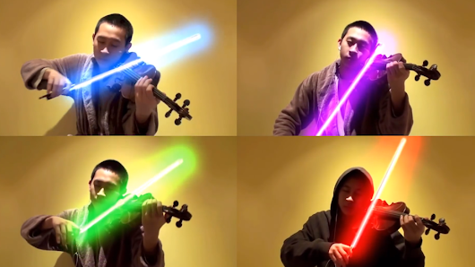 "STAR WARS' ""The Force Theme"" Played Beautifully on Violin… with Lightsabers! 