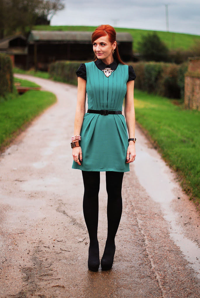 christmas day outfit  layered green pleated dress  some