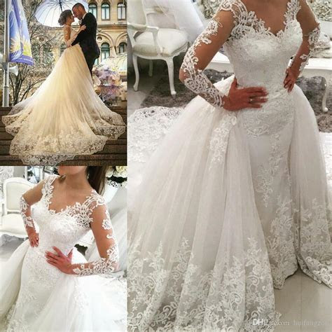 big detachable train lace wedding dresses long sleeve