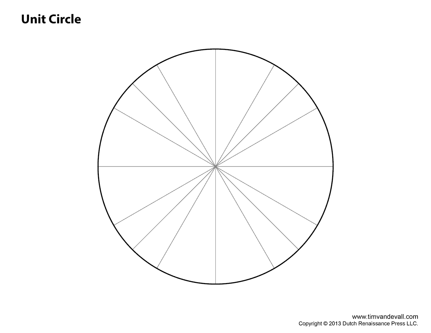 Unit Circle Blank Worksheet - Calendar June