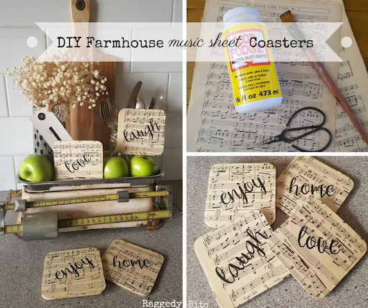 DIY Farmhouse Music Sheet Coasters - Raggedy Bits