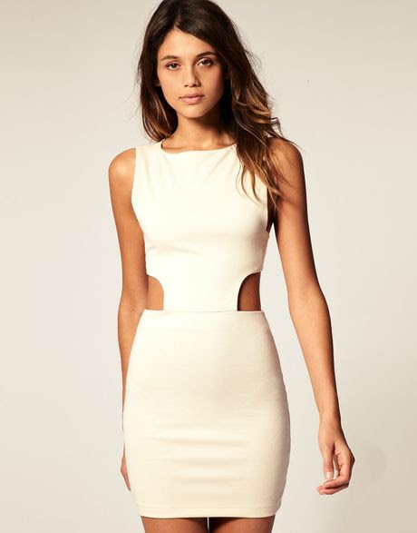 Street cutout dress with sides bodycon white rochester rue