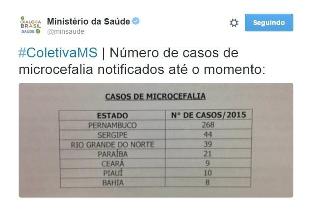 Balanço da microcefalia no Nordeste (Foto: Reprodução/Twitter)