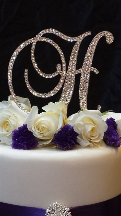Letter H  Swarovski Crystal Monogram Cake Topper Wedding