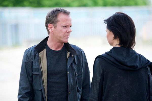 Jack Bauer and Chloe O'Brian (Mary Lynn Rajskub) bid farewell to each other, prior to Jack boarding a Russian helicopter and heading to an uncertain fate in the 24: LIVE ANOTHER DAY finale.