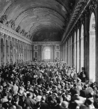 Allied delegates in the Hall of Mirrors at Versailles witness the German delegation's acceptance of the terms of the Treaty Of Versailles, the treaty formally ending World War I. Versailles, France, June 28, 1919.
