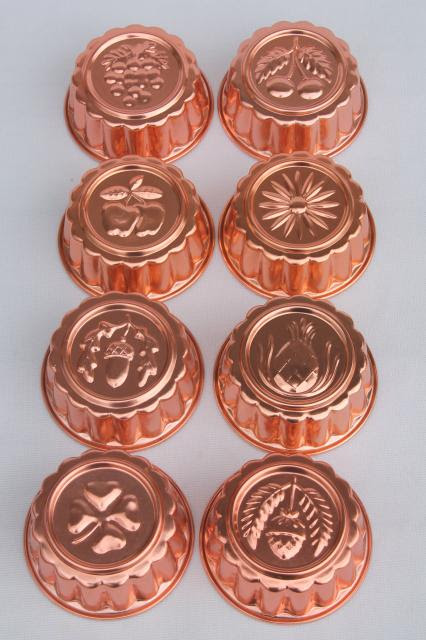 set of 8 small metal jello molds copper pink aluminum gelatin food mold lot Laurel Leaf Farm item no z330226 1