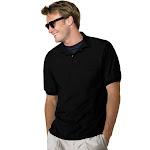 Hanes 054P 50/50 EcoSmart Jersey Pocket Polo Black