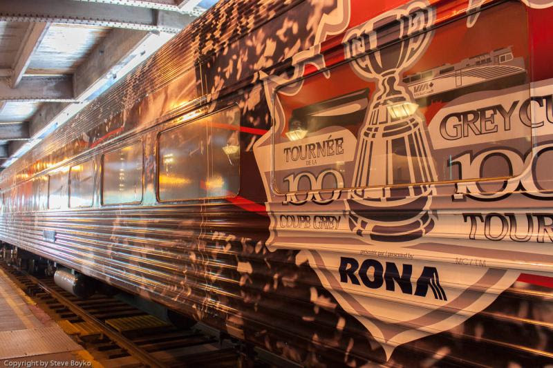 Exterior of VIA 8412 Grey Cup train