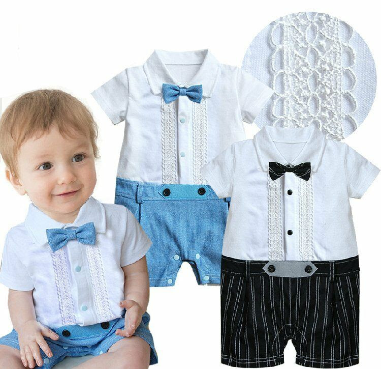 Baby Boy Wedding Christening Formal White Tuxedo Suit Outfit Clothes Romper318M  eBay