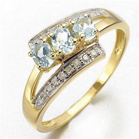 Women's Anniversary Size 6,7,8,9 Rare Aquamarine 10K Gold