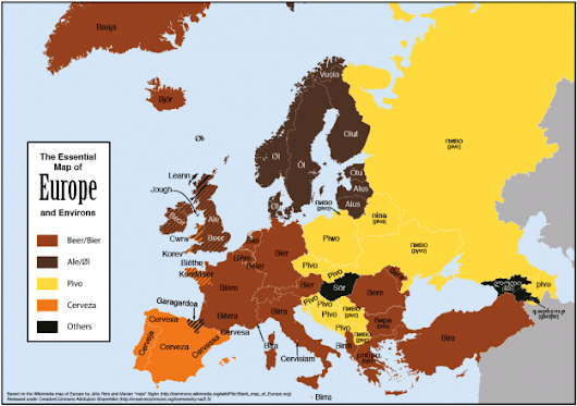 "Map shows how to say ""beer"" in Europe"