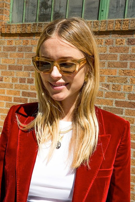 Le Fashion Blog Fall Street Style Nyfw Blonde Wavy Hair Pernille Teisbaek Clear Sunglasses Pendant Necklace White Tee Red Velvet Jacket Via Man Repeller