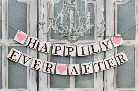 Wedding Banners HAPPILY EVER AFTER Sign Rustic Barn