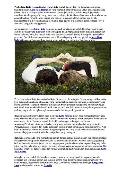 perbedaan kata romantis  kata cinta  pacar