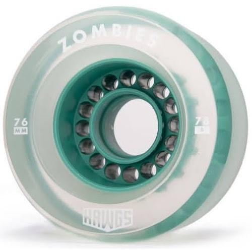 Zombie Hawgs Clear / Teal Core Longboard Wheels 76mm 78a