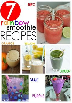Rainbow smoothie recipes. A recipe for each color of the rainbow for healthy smoothies!