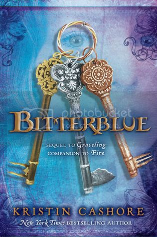 cover art for Bitterblue, featuring three keys against a variegated blue and purple background