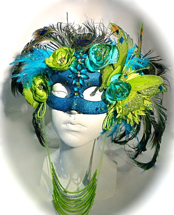 Peacock in the Garden Masquerade Mask Art Masks by Marcellefinery, $125.00 Elaborate Mardi Gras Mask! My Big Day Events, Colorado Event Planning http://www.mybigdaycompany.com/