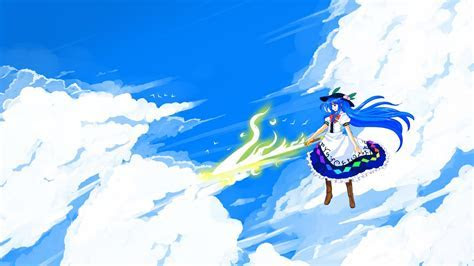 Hinanawi tenshi skyscapes hats anime girls swords