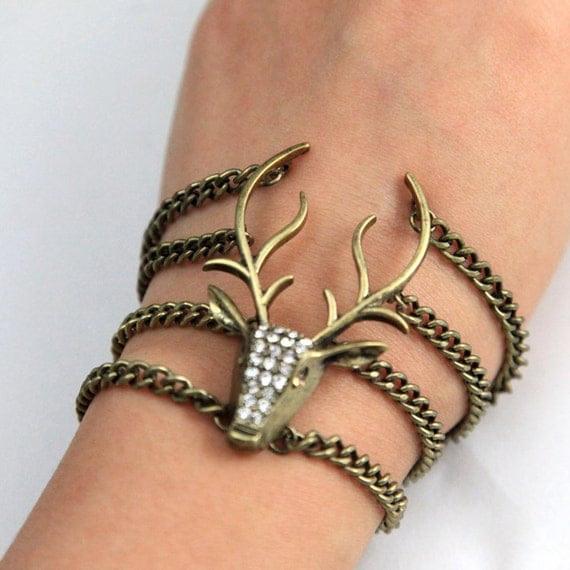 Steampunk whole diamond Moose elk deer antlers chain bracelet
