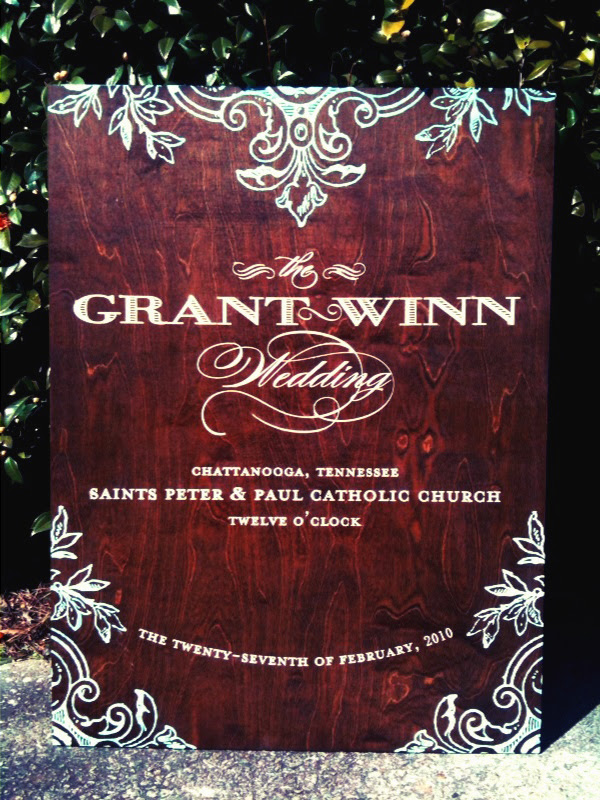 Stunning dark wood wedding sign handpainted with teal calligraphy