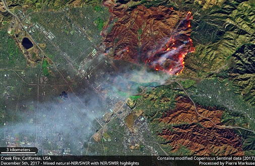 Quickie: Creek Wildfire in California  In this image, taken by the European Sentinel-2B satellite (https...