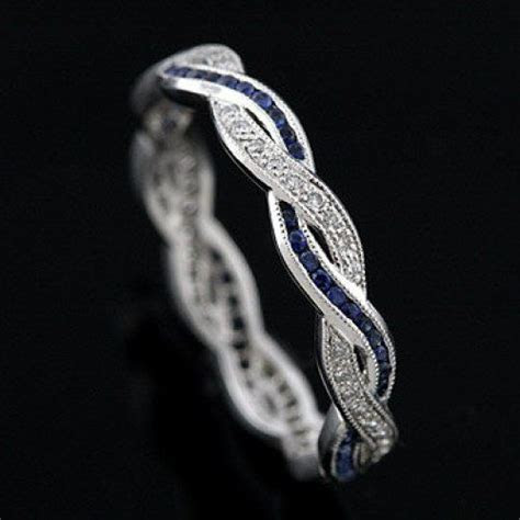 Diamond Sapphire Infinity Eternity Wedding Ring Band 18K