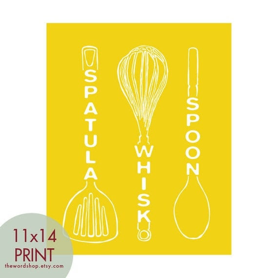 Spatula Whisk Spoon (Kitchen Utensil Art) 11x14 Print (Featured in Canary Yellow) Buy 3 Get One Free