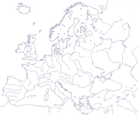 Mapa De Ríos De Europa Mudo Saberia