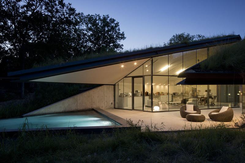 House Built Into Hill Moonlit Pool Interior Design Ideas
