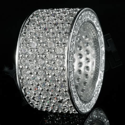 18K White Gold 11mm Silver ETERNITY Wedding Band MICROPAVE