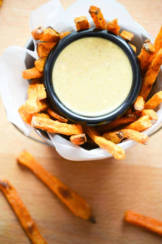 Baked Sweet Potato Fries with Maple Mustard Dipping Sauce - What the Fork