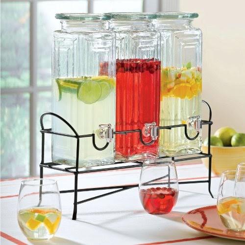 Beverage Dispenser Stand Brylane Home Triple Beverage