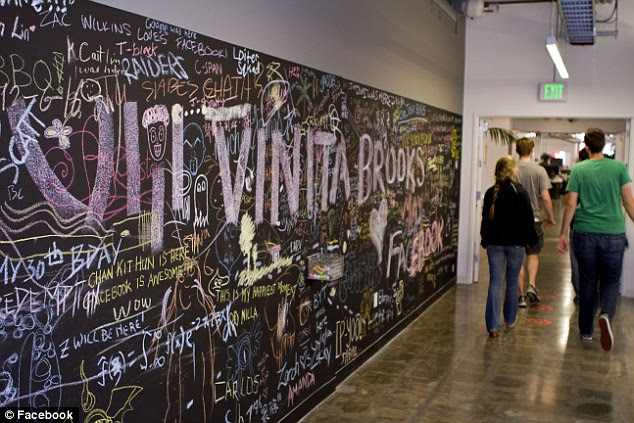 A chalk wall features employee art and notes at Facebook HQ but no obscenities allowed