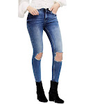 Free People Womens Blue High Rise Busted Knee Skinny Jeans